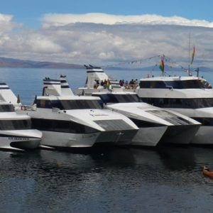 Catamarans on Lake Titicaca