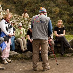 Guide explaining on the Inca Trail